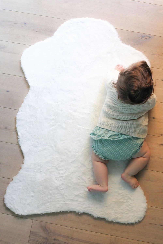 Levtex Home Baby Throw, Cream Faux Fur by Levtex home