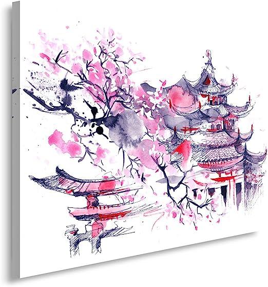 Feeby Frames Tableau Imprime Xxl Tableau Imprime Sur Toile Tableau Deco Canvas 40x50 Cm Cerisier Japonais Abstraction Violet Amazon Fr Cuisine Maison