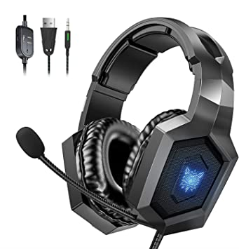 Auriculares PS4 para juegos con sonido envolvente 7.1, micrófono con cancelación de ruido, luz RGB para PS4, Xbox One, PC, ordenador portátil, Mac (negro): Amazon.es: Electrónica
