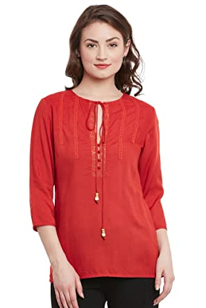 fbc1ecd7d3 THE VANCA Women 3 4Th Sleeve Top in Round Neck with Tassel Tie Up ...