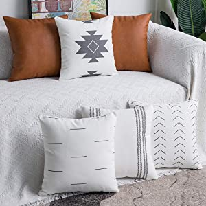 DEZENE Decorative Throw Pillow Covers: Set of 6 Modern Boho Square Cotton and Faux Leather Pillow Cases for Home Decor Living Room Farmhouse Sofa Couch, 18 x 18 Inch, White/Grey/Brown
