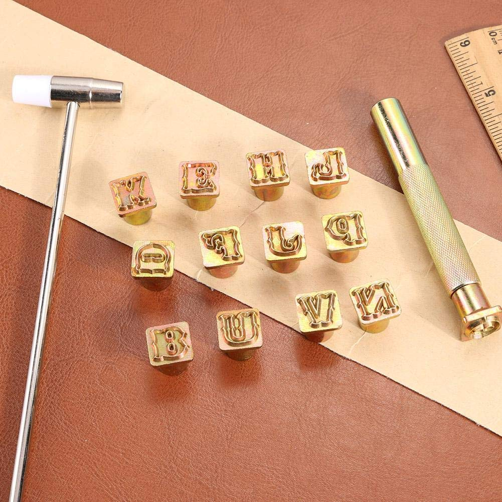 26pcs DIY Metal Leather Craft Tools Steel Printing Punch Alphabet Letter Stamp Set Capital Letters Printing Copper with A Pole