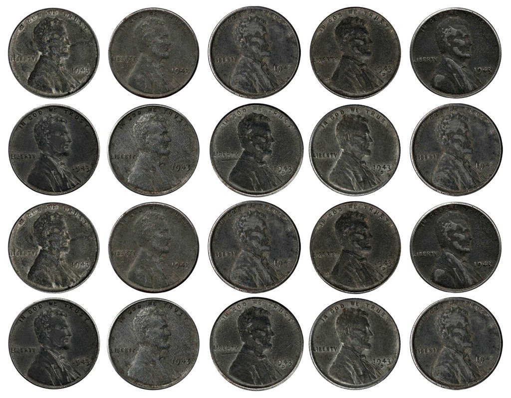 1943 Various Mint Marks Count of 20 Genuine World War II WWII Steel Pennies P, D & S Mint Marks All Grade Better Than Fine 71n9PBTo5ML