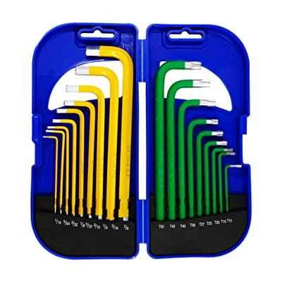 GS Tools Hex Key Allen Wrench Set, Long Arm Ball End Allen Wrench with Hard Case, SAE & Star Key, Chrome Vanadium Steel, 18-Piece | Yellow and Green
