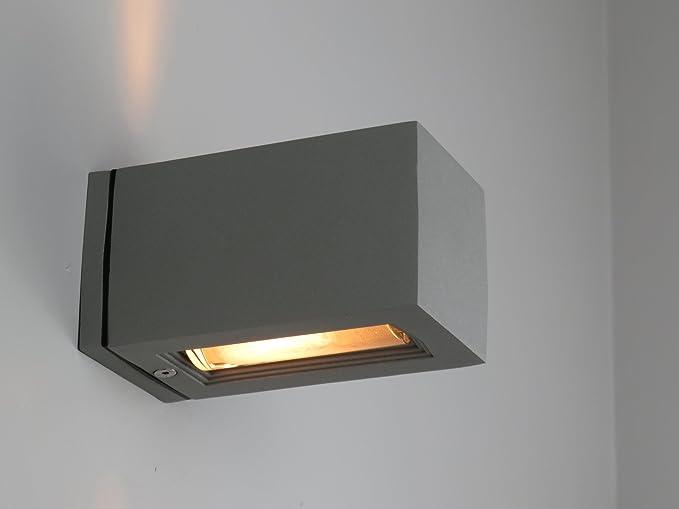 Applique parete esterno cubo alluminio grigio biemissione g