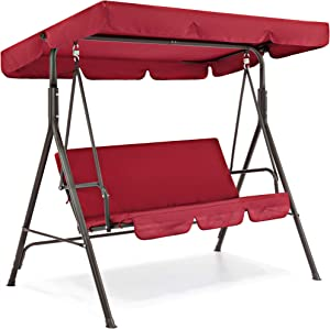 Best Choice Products 2-Person Outdoor Large Convertible Canopy Swing Glider Lounge Chair w/Removable Cushions- Burgundy