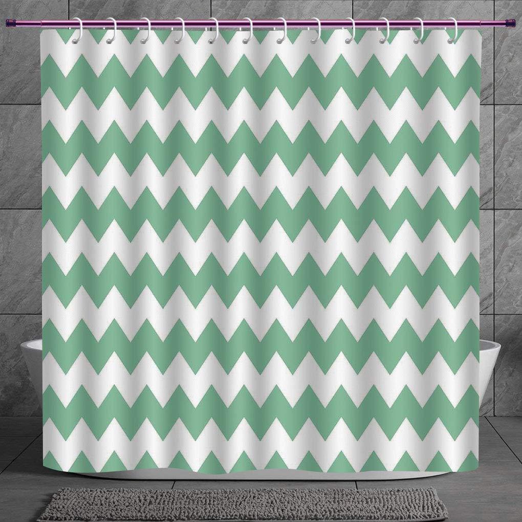 Cool Shower Curtain 2 0 Mint Chevron Pattern Horizontal Zigzag Twisty Turns Modern Aztec Folk Inspirations White Jade Green Digital Print Polyester Fabric Bathroom Set Amazon In Home Kitchen