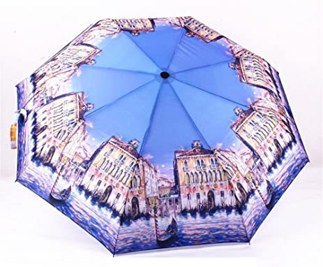 Katoot@ Oil Painting Umbrella 3 Folding Automatic Umbrella Rain Women And Men Plegable Paraguas De