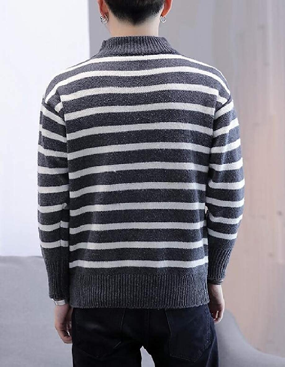 Smeiling Mens Long Sleeve O-Neck Stripe Knitted Slim Pullover Sweaters