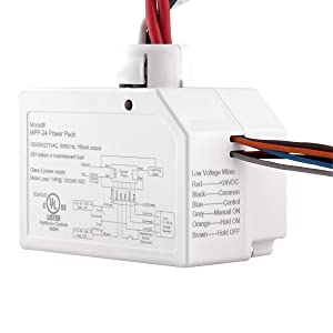 ENERLITES Ceiling Sensor Low Voltage Power Pack for Low Voltage Sensor and Package, Self Contained Power Supply Relay System 120~277V AC to 24V DC, MPP-24, White