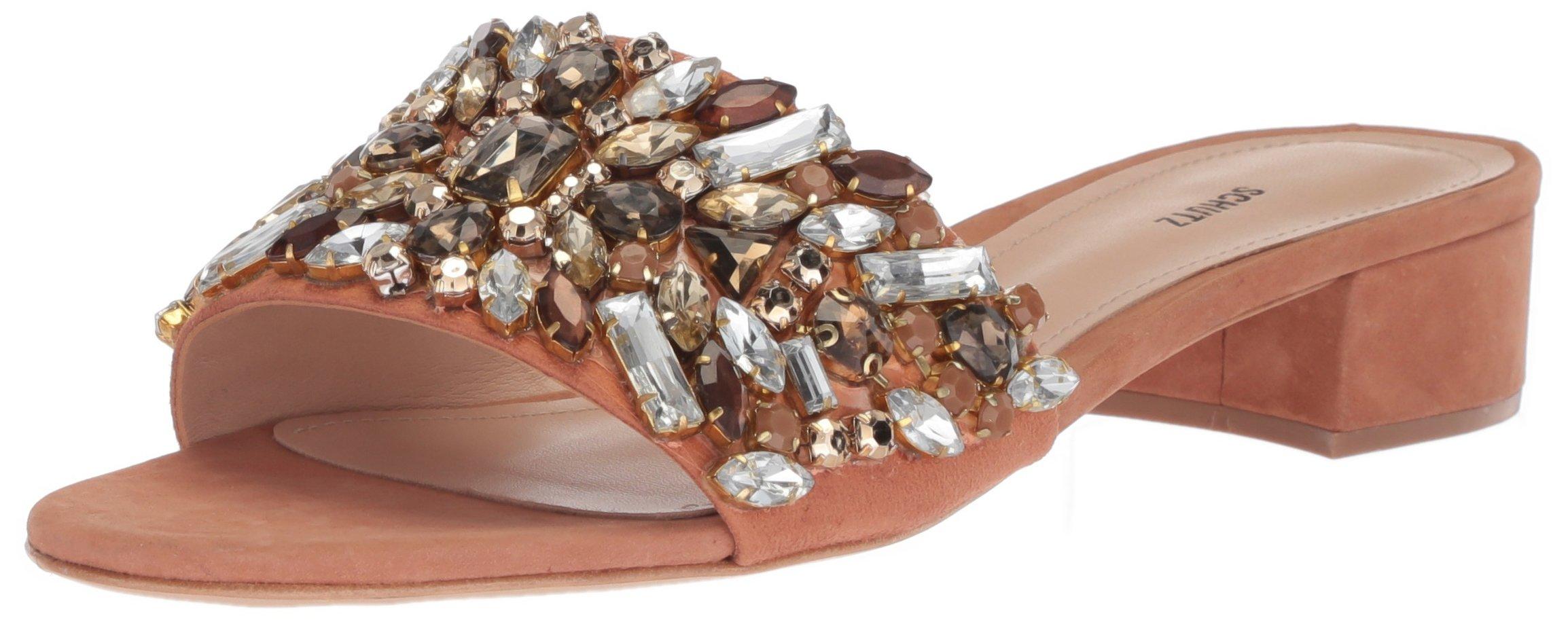SCHUTZ Women's Victoria Slide Sandal, Toasted Nut, 10 M US