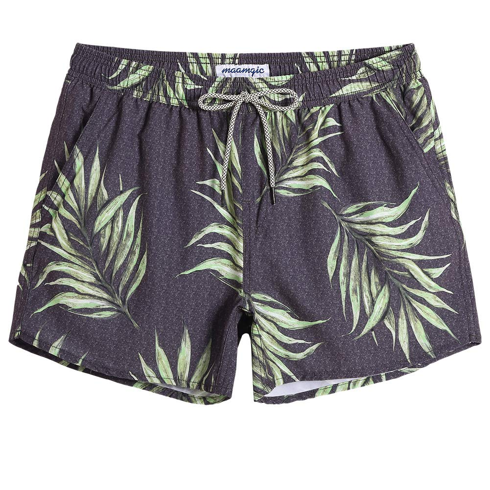 c948a77528 MaaMgic Mens Boys 80s 90s Vintage 4 Way Stretch Swim Trunks with Mesh  Lining Quick Dry ...