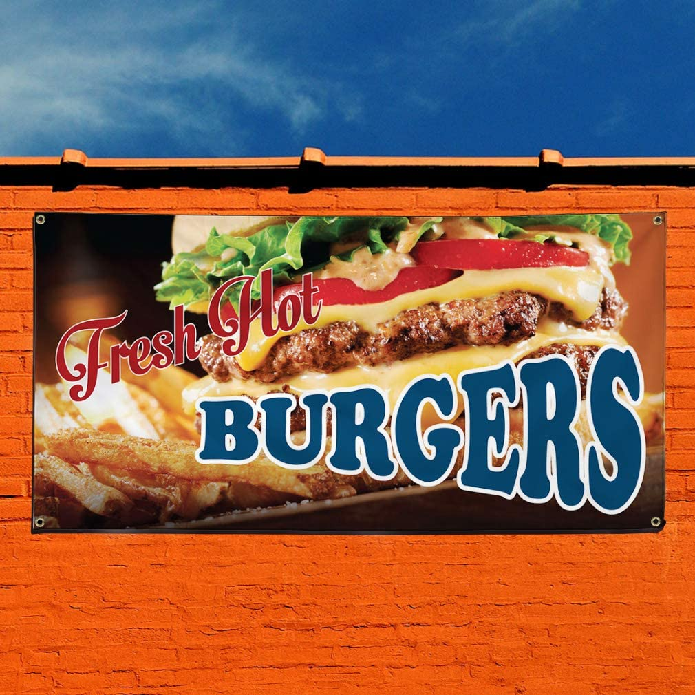 Multiple Sizes Available 28inx70in 4 Grommets Set of 2 Vinyl Banner Sign Fresh Hot Burgers #1 Style C Outdoor Marketing Advertising red