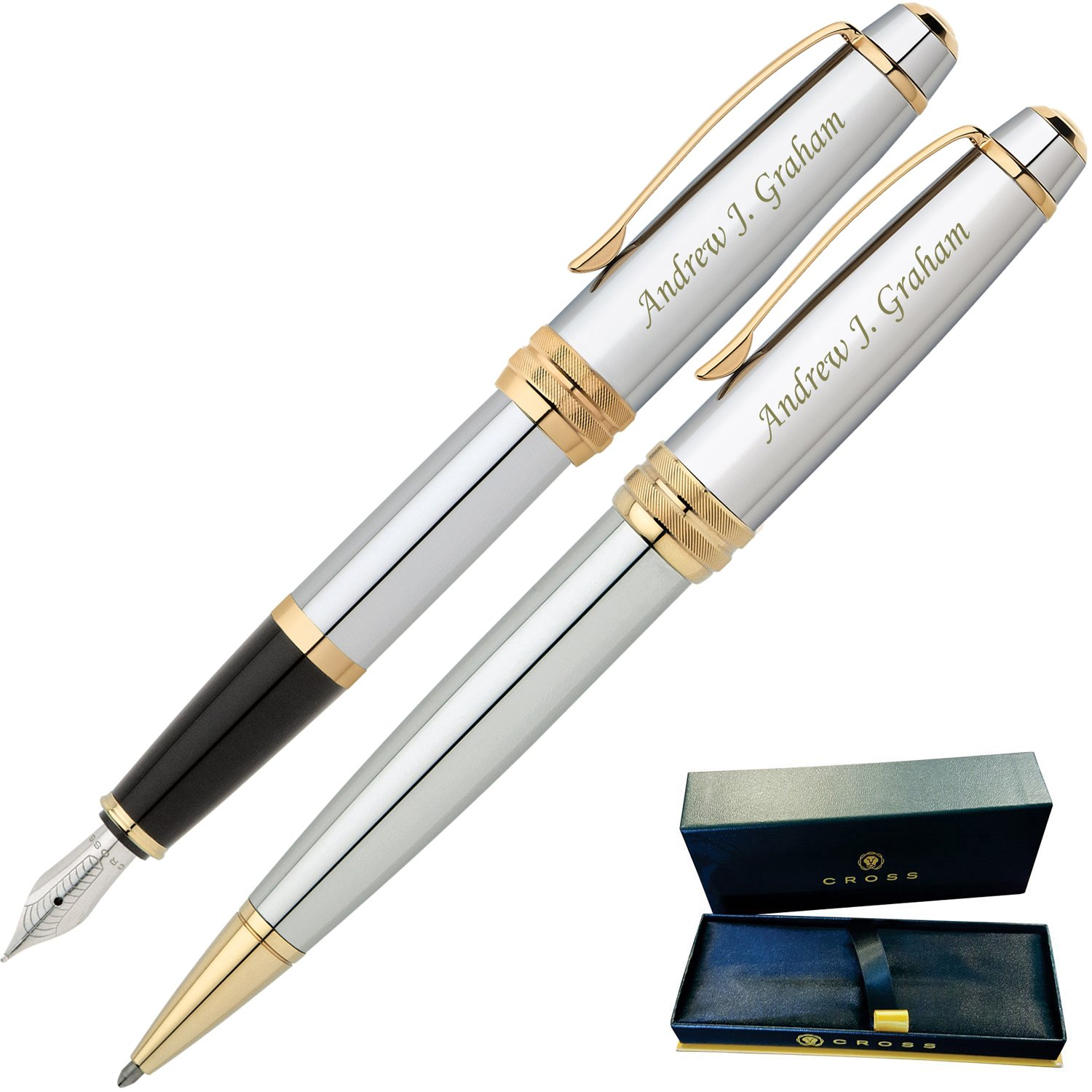 Dayspring Pens | Engraved/Personalized Cross Bailey Medalist Ballpoint and Fountain Gift Pen Set. Custom Engraved Case Included
