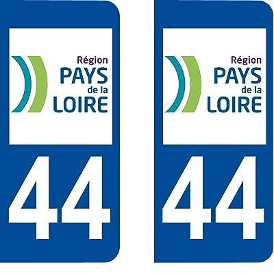 2 Stickers Autocollant style Plaque Immatriculation département 44