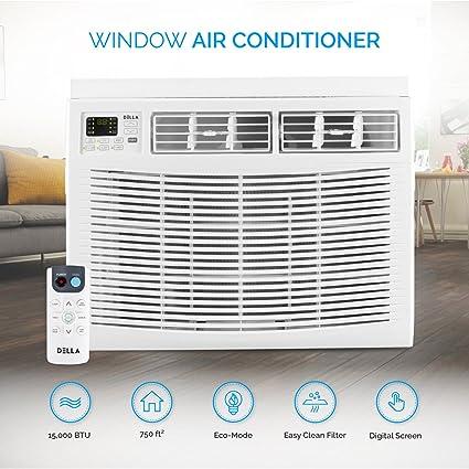 compact window air conditioner vertical window della mini compact windowmounted air conditioner 15000 btu 115volt with remote control amazoncom