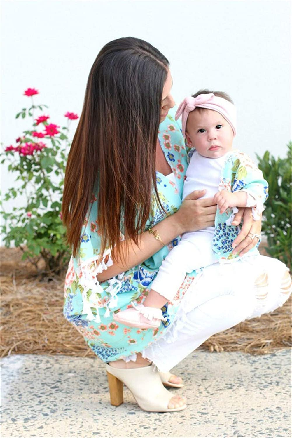 SJIAO Mommy and Me Shirts Fall Cardigan Blouse Top Women Baby Girl Matching Outfit Flower Shawl Mom&Me Family Clothes