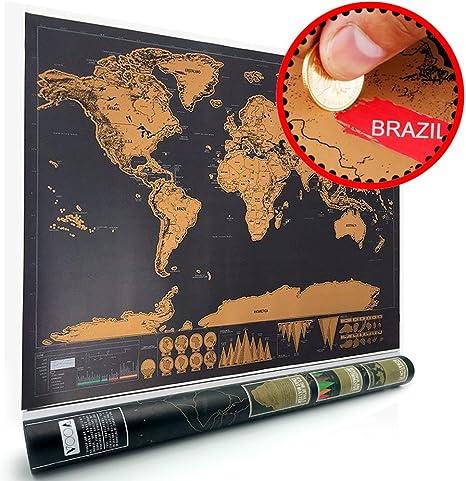 Mapa rascar, Mapa del mundo rascar (82.5 x 59.5 cm) travel edición rasca mapa del mundo cartel personalizado VOOA: Amazon.es: Deportes y aire libre