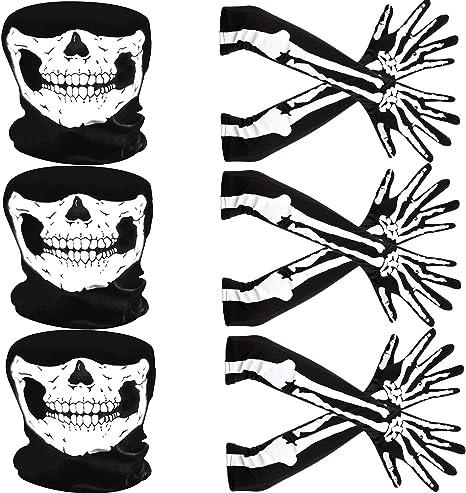 Tatuo Guantes de Esqueleto Blancos y Máscara de Calavera Disfraz ...