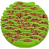 OMGO Gamelle Chat Chien en Forme de Vague Anti Glouton Bol d'Alimentation Lente Saine pour Animal Domestique Vert