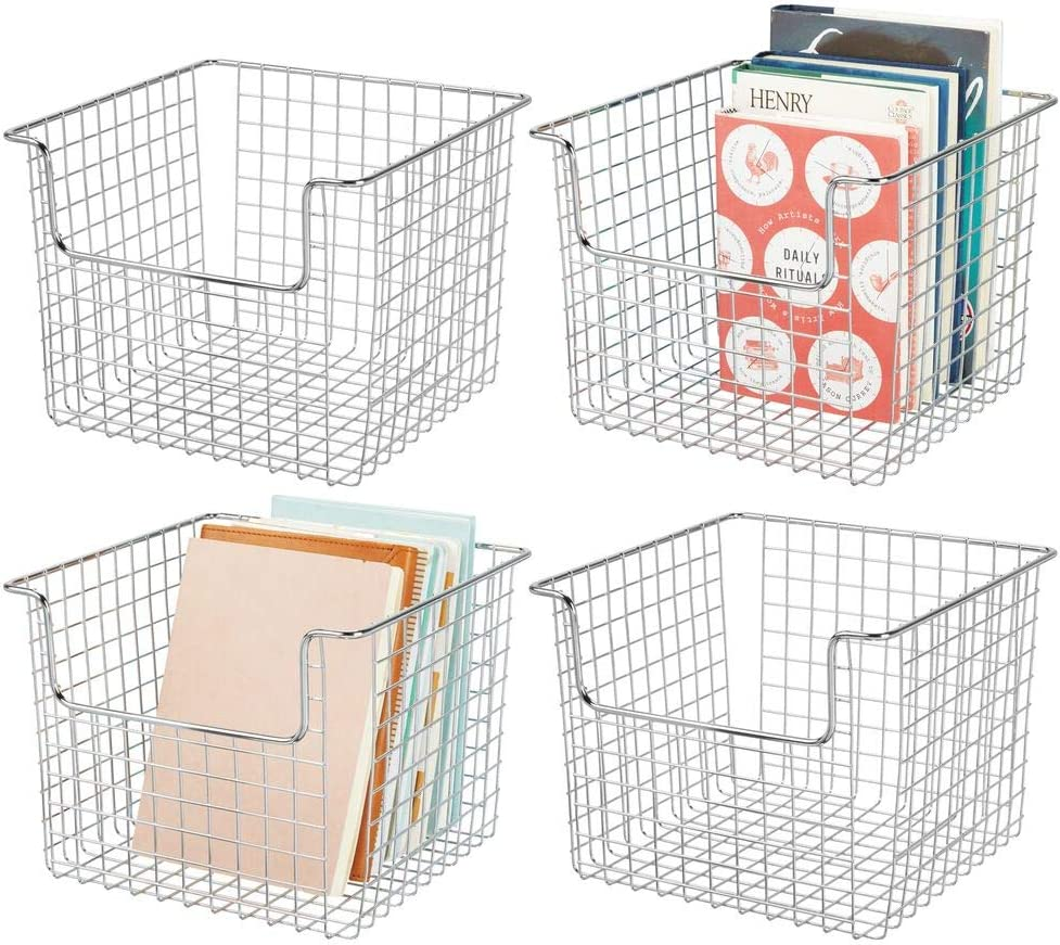 "mDesign Metal Wire Storage Organizer, Holder Bin Basket - for Cube Furniture Shelving Organization for Closet, Entryway, Bedroom, Bathroom, Home Office - 10"" Wide, 4 Pack - Chrome"