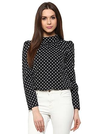 34d358cc0 The Bebo Black Full sleeves Polka dots Crepe Straight Elegant Top ...