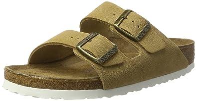BIRKENSTOCK Classic Unisex-Erwachsene Arizona Leder Softfootbed Pantoletten, Braun (Sand), 37 EU