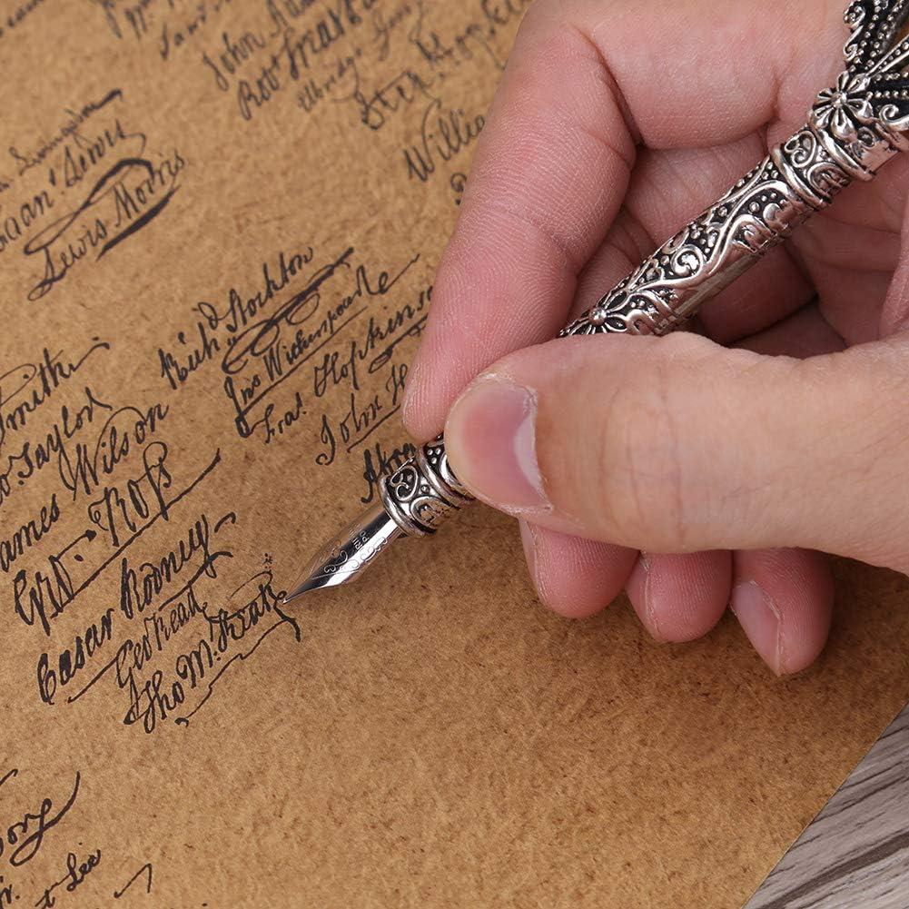 Halter Geschenkbox Schreibwaren Business B/ürobedarf Kalligraphie Stift Antiken Quill Stahl Nibbed Brunnen Dip Pen 5 St/ück Austauschbare Nib # 2