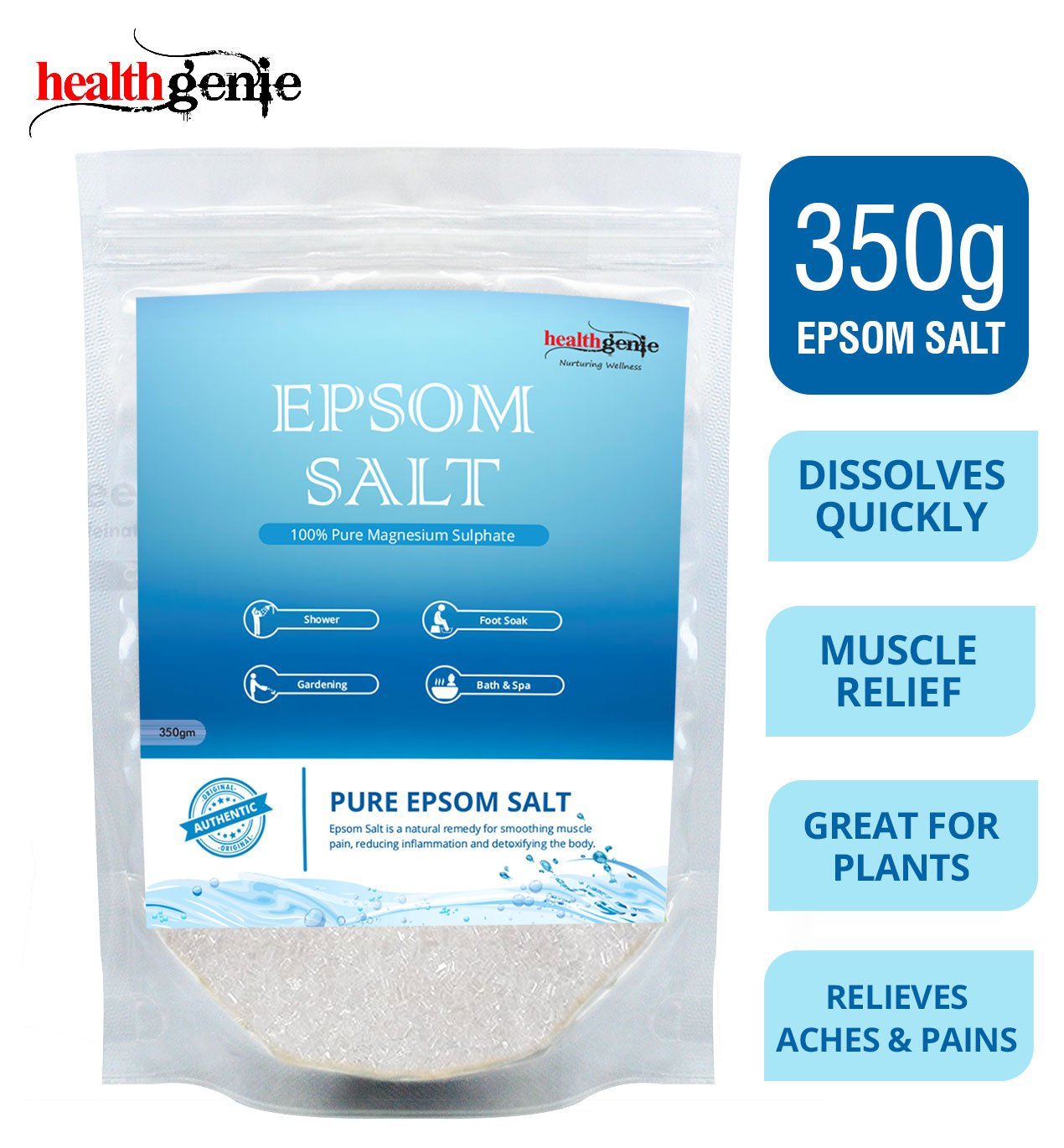 Healthgenie Epsom Salt for Relaxation and Pain Relief - 350 g