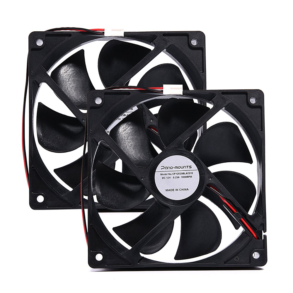 Strong Ultra Quiet 12025 Fan 120x120x25mm 12cm 120mm Computer Case Fan DC 12V 2Pin 2 Wire Cooling Fan 1600RPM 130CFM 2-Pack