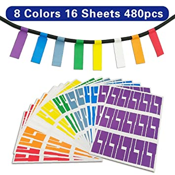 Wire Tags | Bornfeel Cable Labels 16 Sheets 8 Colors 480 Labels Wire Labels A4