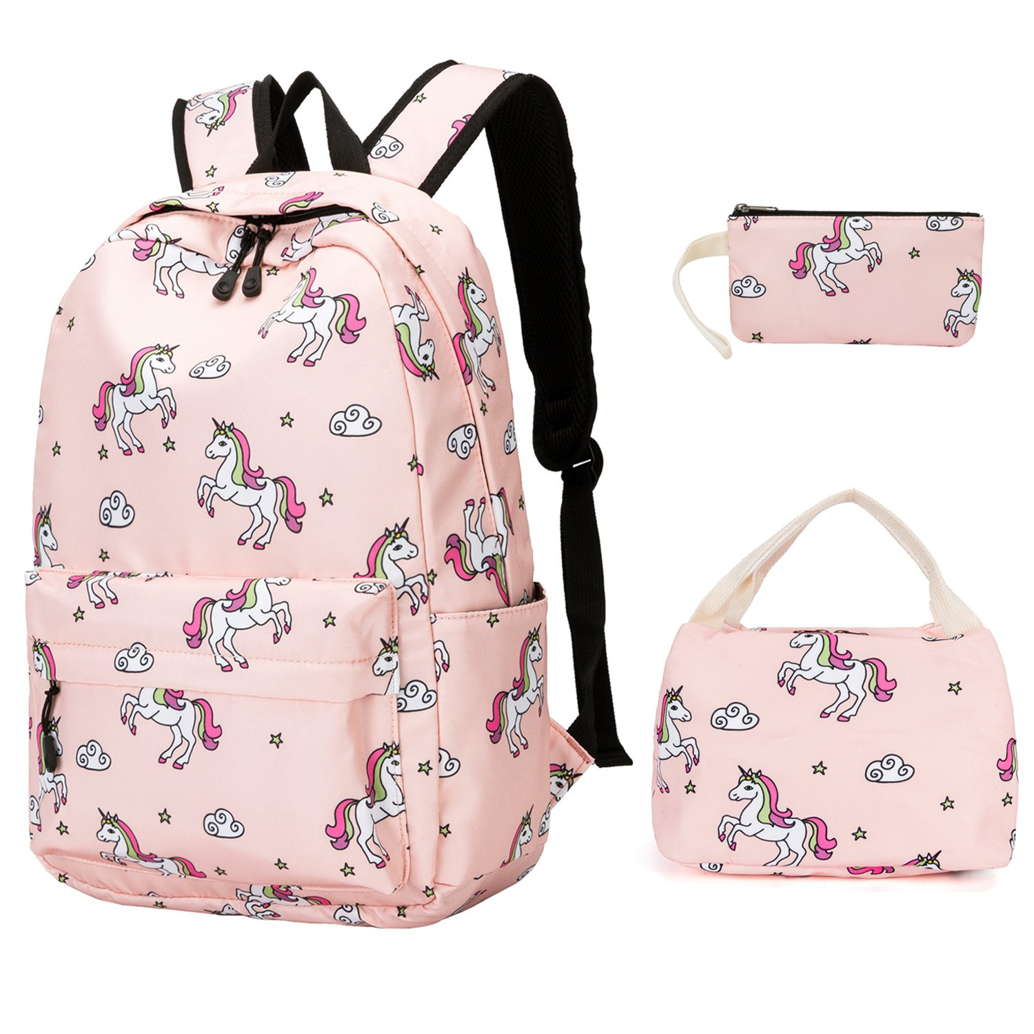 Girls Backpack For School Teens Bookbag Cute Backpack Set Water Resistant School Bag (Pink)