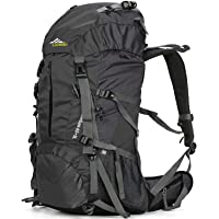 Loowoko 50-Liter Hiking Backpack with Rain Cover (Black)