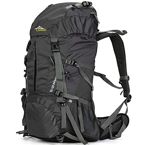 c02eb2c0ea Loowoko Hiking Backpack 50L Travel Daypack Waterproof with Rain Cover for  Climbing Camping Mountaineering (Black