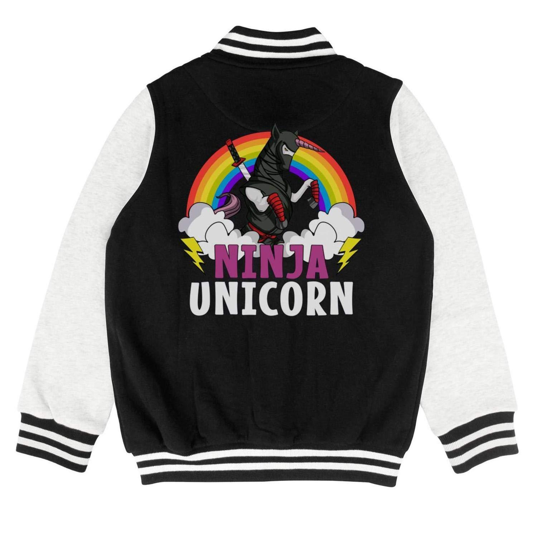 Autumn Kids Boys Short Funny Ninja-Unicorn Colorful Rainbow Metal Casual Slim Baseball Jacket Hoodie