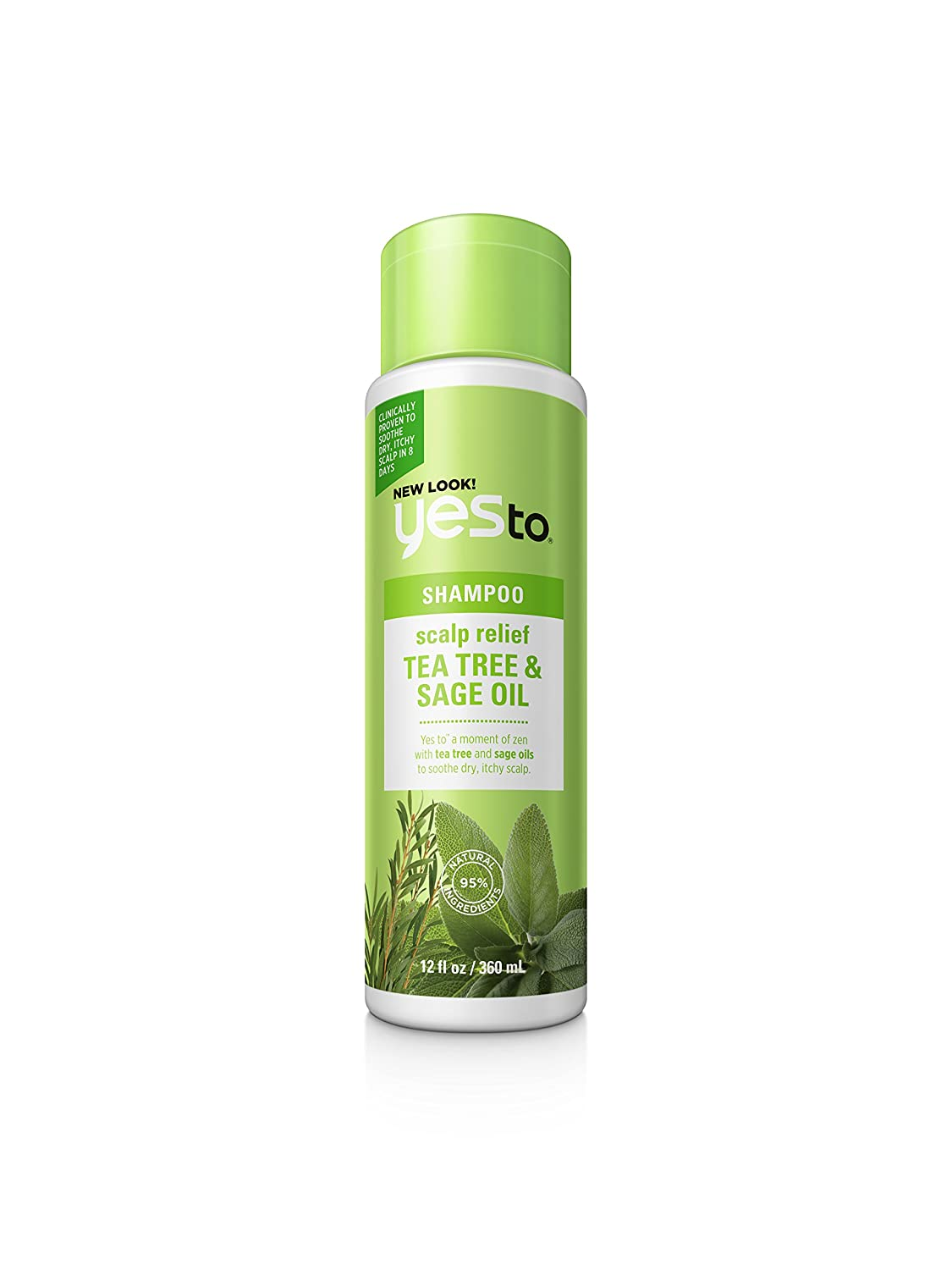 Yes To Naturals Tea Tree & Sage Oil Scalp Relief Shampoo for Dry & Itchy Scalp, 12 Fluid Ounce