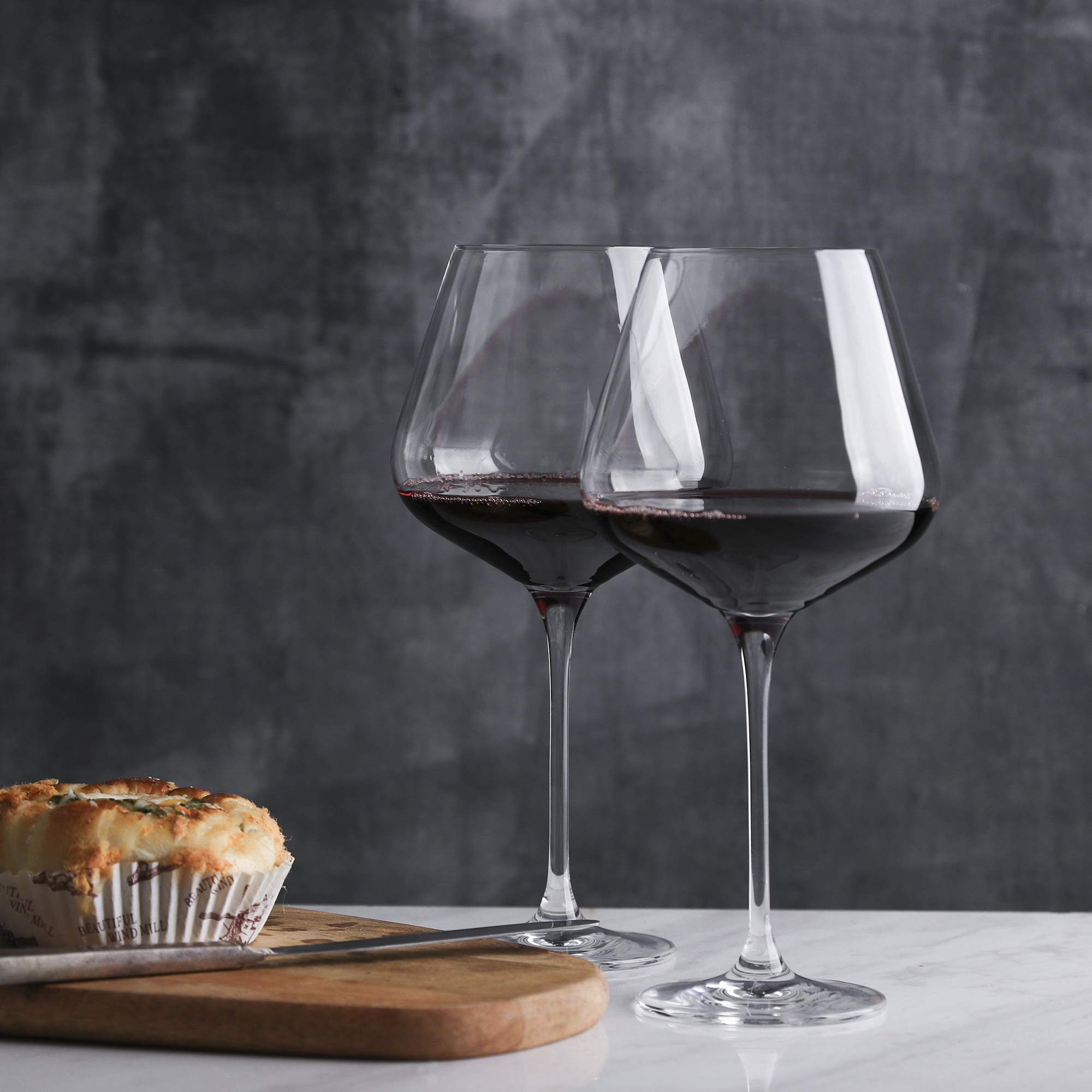 Red Wine Glasses - Crystal Glass - Lead Free - Wine Glasses Set of 4 (29 Ounce) by WH Housewares (Image #4)