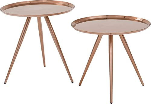 OSP Designs Tiffany Side Table with Plate Finish 2 Pack , Brushed Copper