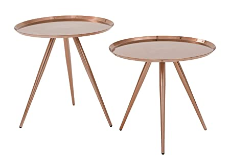 OSP Designs TIFA753-RC-osp Tiffany Side Table with Plate Finish 2 Pack , Brushed Copper
