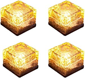 Solar Glass Brick Light,Ice Cube Lights,LED Landscape Light Buried Light Square Cube,Frosted Glass Light for Christmas Outdoor Path Road Yard 4 pcs (Warm White)