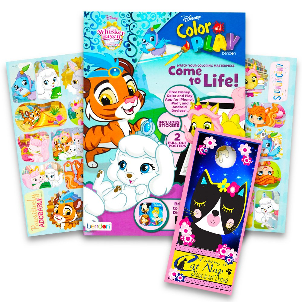 Whisker Haven Stickers with Specialty Door Hanger Disney Whisker Haven Palace Pets Coloring and Activity Book with 2 Posters