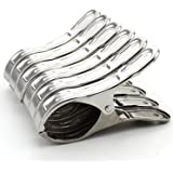 Zicome Set of 6 Stainless Steel Beach Bath Towel Clips for Beach Chair or Pool Loungers on Your Cruise - Keep Your Towels From Blowing Away