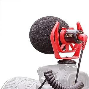 LENSGO DMM1 - Micrófono de cámara para teléfono móvil, micrófono de video con escopeta cardioide direccional de 3,5 mm Jack externo con soporte de choque para iPhone Android, smartphone, Canon, Nikon, DSLR