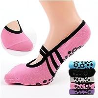 Antibacterial Yoga Socks Non Slip Skid Pilates Barre Grip Socks With Toes For Women
