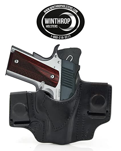 1911 3 inch Barrel Laser Grips IWB CCW Dual Spring Clip Leather Holster  with Body Shield R/H Black - 0035