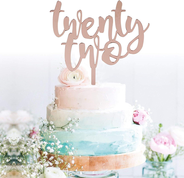 Phenomenal Amazon Com Grantparty Twenty Two Rose Gold Cake Topper 22Nd Birthday Cards Printable Trancafe Filternl