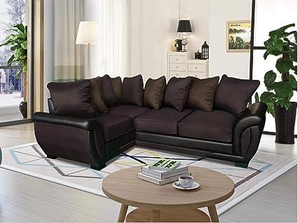 Cool Ukleisureworld Corner Sofa Suites Settee Dark Light Brown Mocha Charcoal Fabric 3 2 Seater Armchair Leather Dark Brown Cjindustries Chair Design For Home Cjindustriesco