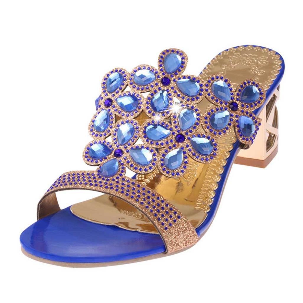 Estivi Sandali Donna,Witsaye Eleganti Donna Pantofole Strass Scarpe Ciabatte Pantofole da Spiaggia Ragazze Infradito Blu