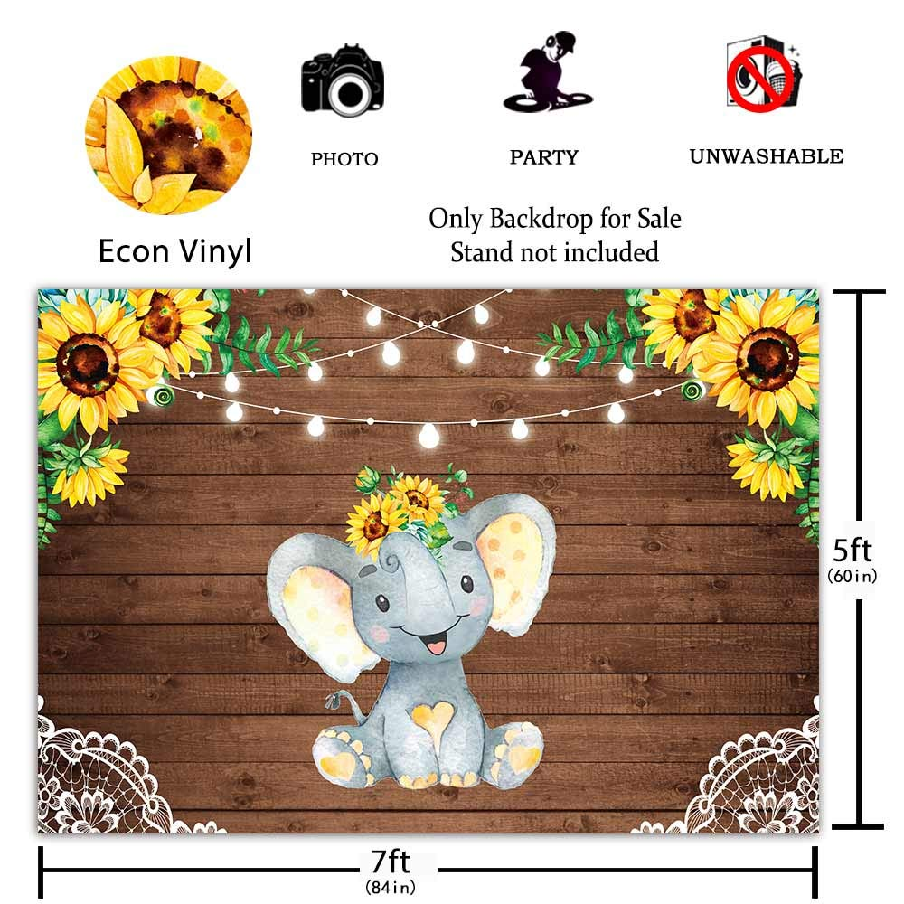 Funnytree 7x5ft Sunflower Elephant Party Backdrop Retro Rustic Wooden on