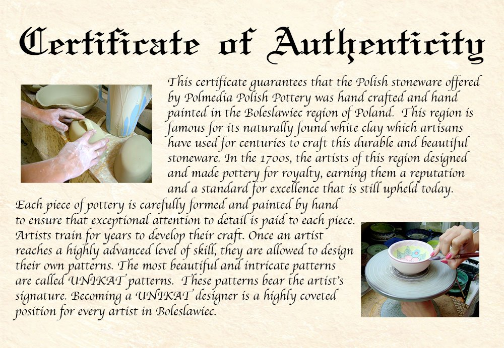 Polish Pottery 16 oz Tea Set for One made by Ceramika Artystyczna (Blue Poppies Theme) + Certificate of Authenticity by Polmedia Polish Pottery (Image #6)